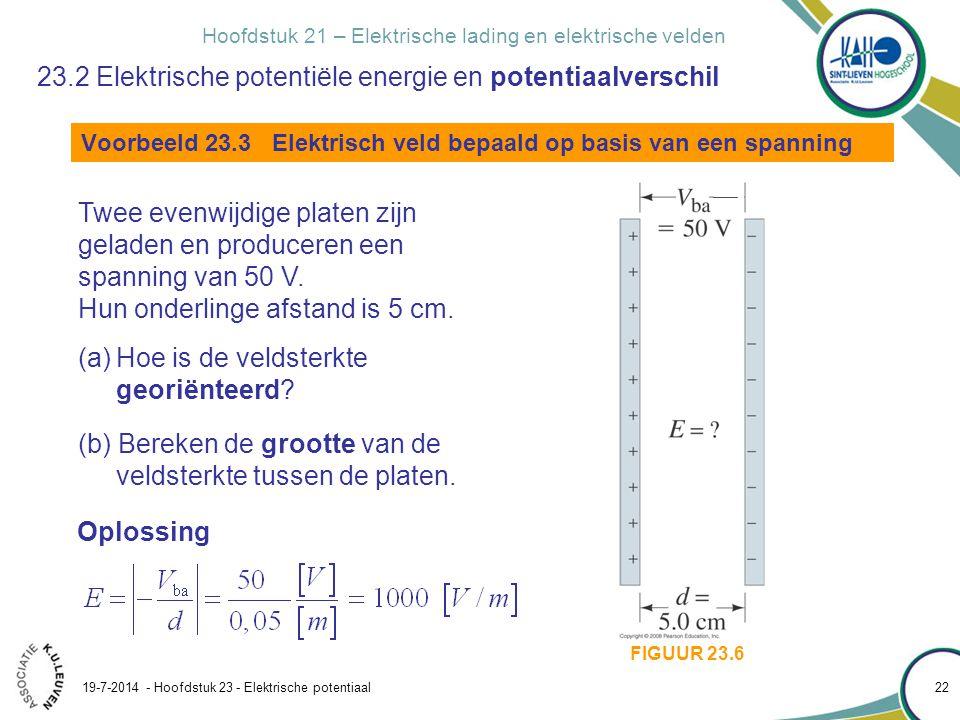Hoofdstuk 21 – Elektrische lading en elektrische velden 19-7-2014 - Hoofdstuk 23 - Elektrische potentiaal 22 FIGUUR 23.6 23.2 Elektrische potentiële e
