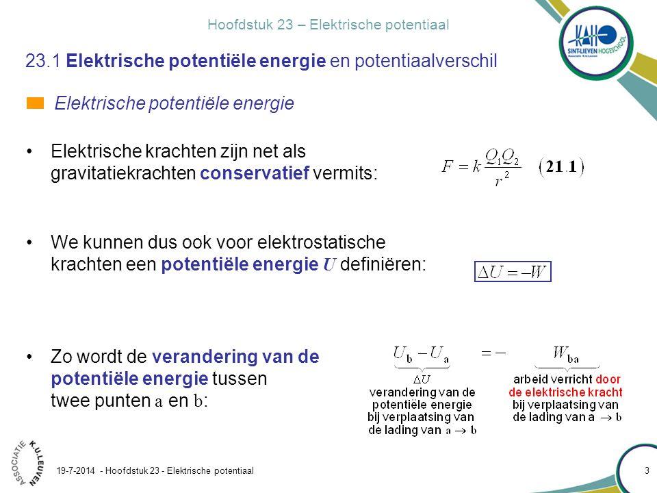 Hoofdstuk 23 – Elektrische potentiaal 19-7-2014 - Hoofdstuk 23 - Elektrische potentiaal 4 23.1 Elektrische potentiële energie en potentiaalverschil Een positieve puntlading q wordt in punt a van een homogeen veld losgelaten.