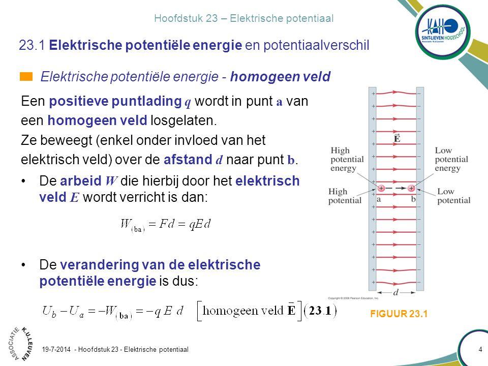 Hoofdstuk 23 – Elektrische potentiaal 19-7-2014 - Hoofdstuk 23 - Elektrische potentiaal 5 23.1 Elektrische potentiële energie en potentiaalverschil Elektrische potentiële energie - homogeen veld Herken de tekens van de grootheden: Herken de energieomzetting bij de verplaatsing: potentiële energie wordt omgezet in kinetische.