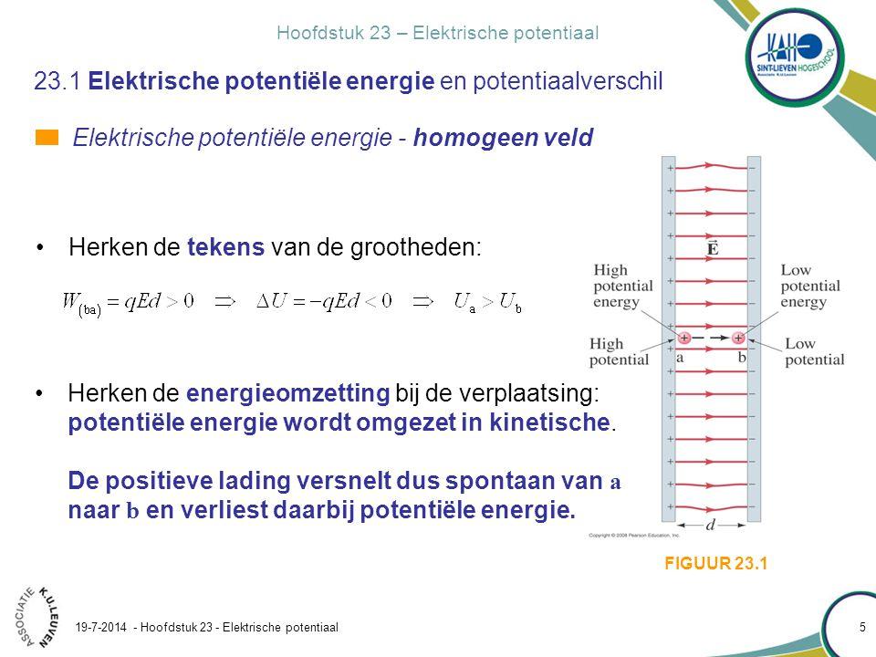 Hoofdstuk 23 – Elektrische potentiaal 19-7-2014 - Hoofdstuk 23 - Elektrische potentiaal 6 23.1 Elektrische potentiële energie en potentiaalverschil Elektrische potentiële energie - homogeen veld Het effect van een conservatieve kracht op een deeltje kan omschreven worden als: Een conservatieve kracht drijft een deeltje spontaan naar de laagste potentiële energie. Voor een positief deeltje is dat punt b.