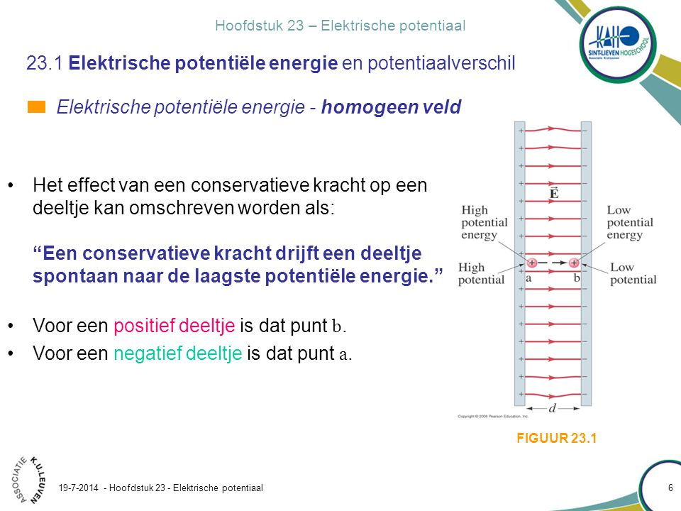 Hoofdstuk 23 – Elektrische potentiaal 19-7-2014 - Hoofdstuk 23 - Elektrische potentiaal 6 23.1 Elektrische potentiële energie en potentiaalverschil El