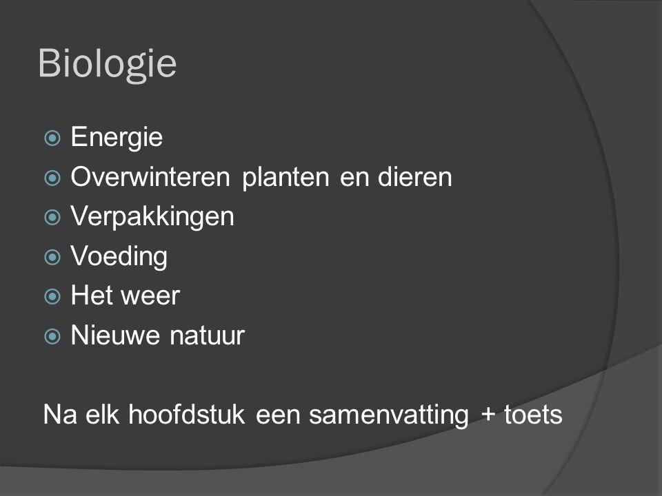 Biologie  Energie  Overwinteren planten en dieren  Verpakkingen  Voeding  Het weer  Nieuwe natuur Na elk hoofdstuk een samenvatting + toets