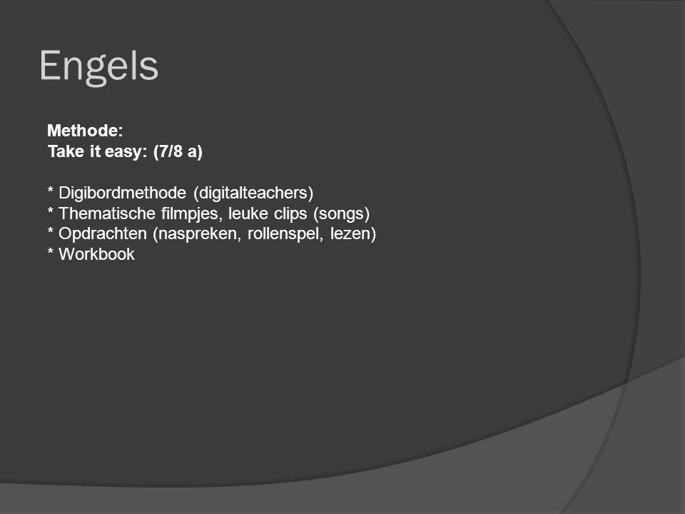 Engels Methode: Take it easy: (7/8 a) * Digibordmethode (digitalteachers) * Thematische filmpjes, leuke clips (songs) * Opdrachten (naspreken, rollenspel, lezen) * Workbook