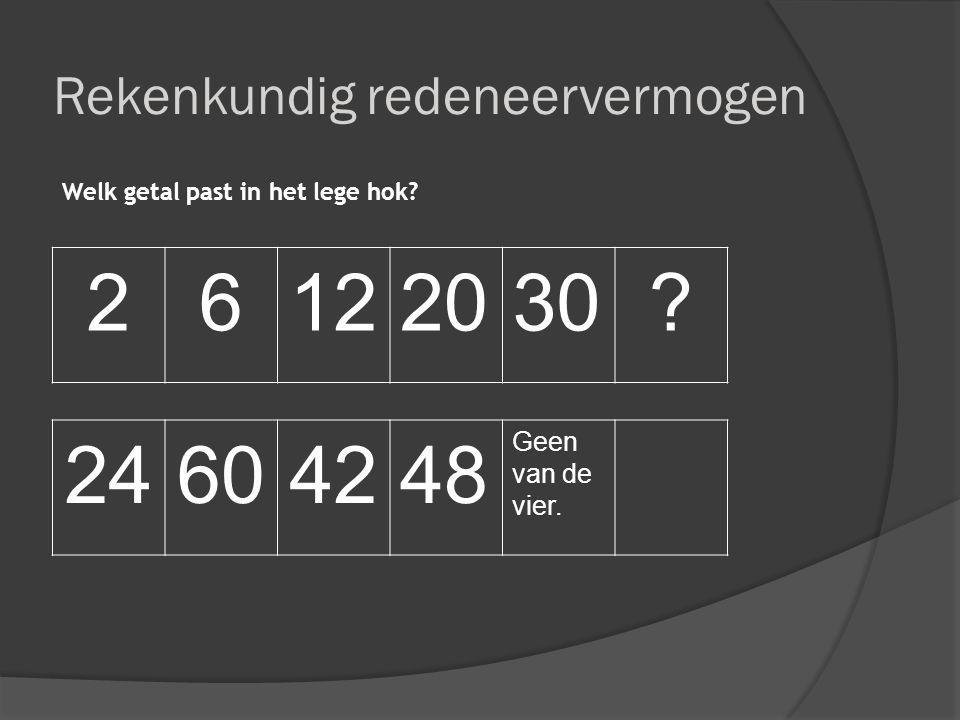 Rekenkundig redeneervermogen Welk getal past in het lege hok? 26122030? 24604248 Geen van de vier.