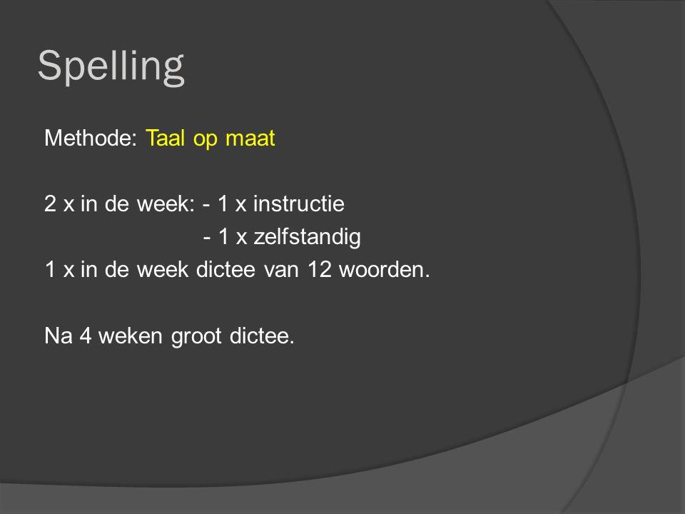 Spelling Methode: Taal op maat 2 x in de week: - 1 x instructie - 1 x zelfstandig 1 x in de week dictee van 12 woorden.