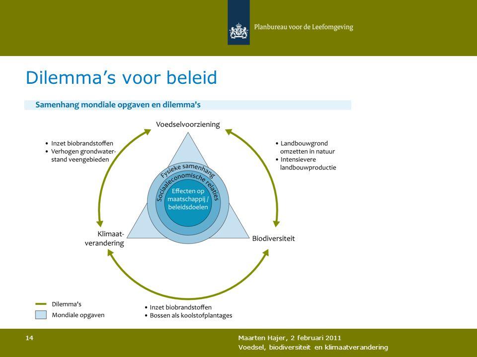 Maarten Hajer, 2 februari 2011 Voedsel, biodiversiteit en klimaatverandering 14 Dilemma's voor beleid