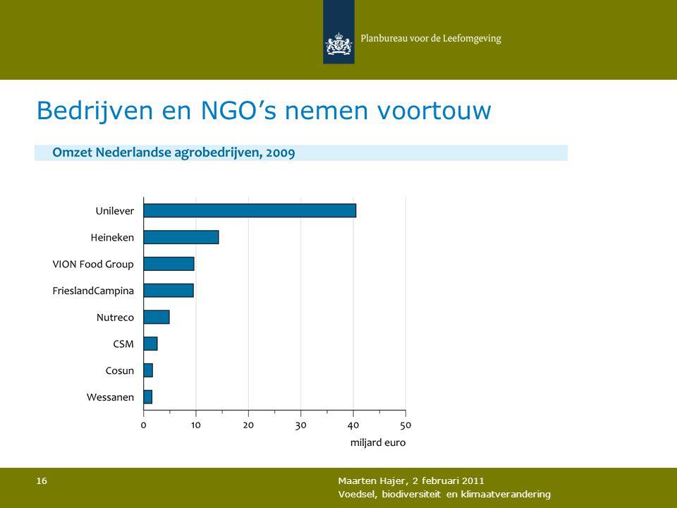 Maarten Hajer, 2 februari 2011 Voedsel, biodiversiteit en klimaatverandering 16 Bedrijven en NGO's nemen voortouw