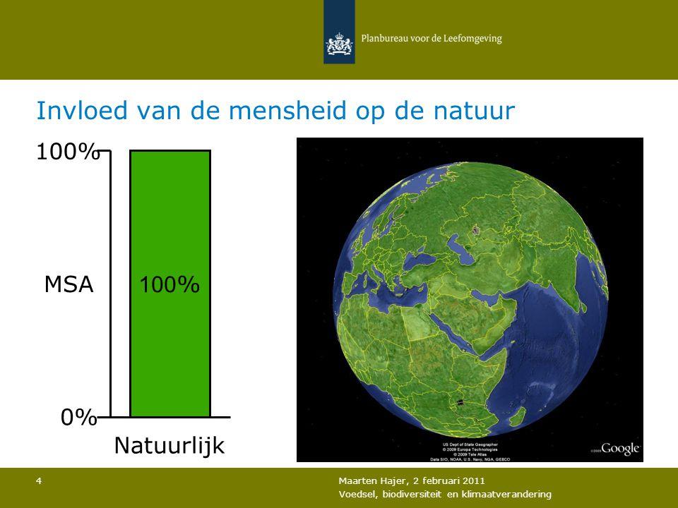 Maarten Hajer, 2 februari 2011 Voedsel, biodiversiteit en klimaatverandering 4 Invloed van de mensheid op de natuur 100 % 0% MSA Natuurlijk
