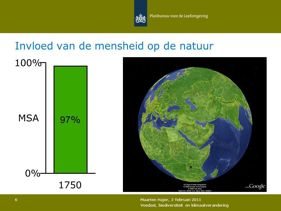 Maarten Hajer, 2 februari 2011 Voedsel, biodiversiteit en klimaatverandering 6 Invloed van de mensheid op de natuur 97 % 100% 0% MSA 1750