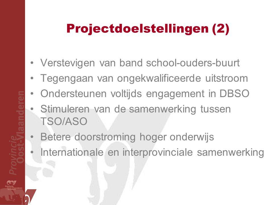 Projectdoelstellingen (2) Verstevigen van band school-ouders-buurt Tegengaan van ongekwalificeerde uitstroom Ondersteunen voltijds engagement in DBSO Stimuleren van de samenwerking tussen TSO/ASO Betere doorstroming hoger onderwijs Internationale en interprovinciale samenwerking