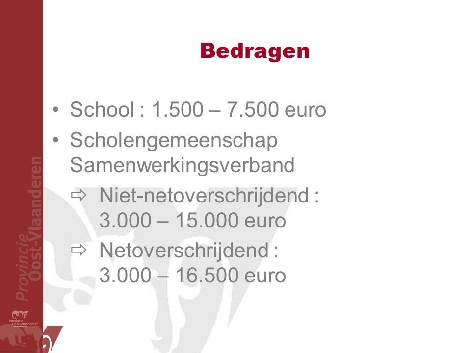 Bedragen School : 1.500 – 7.500 euro Scholengemeenschap Samenwerkingsverband  Niet-netoverschrijdend : 3.000 – 15.000 euro  Netoverschrijdend : 3.000 – 16.500 euro