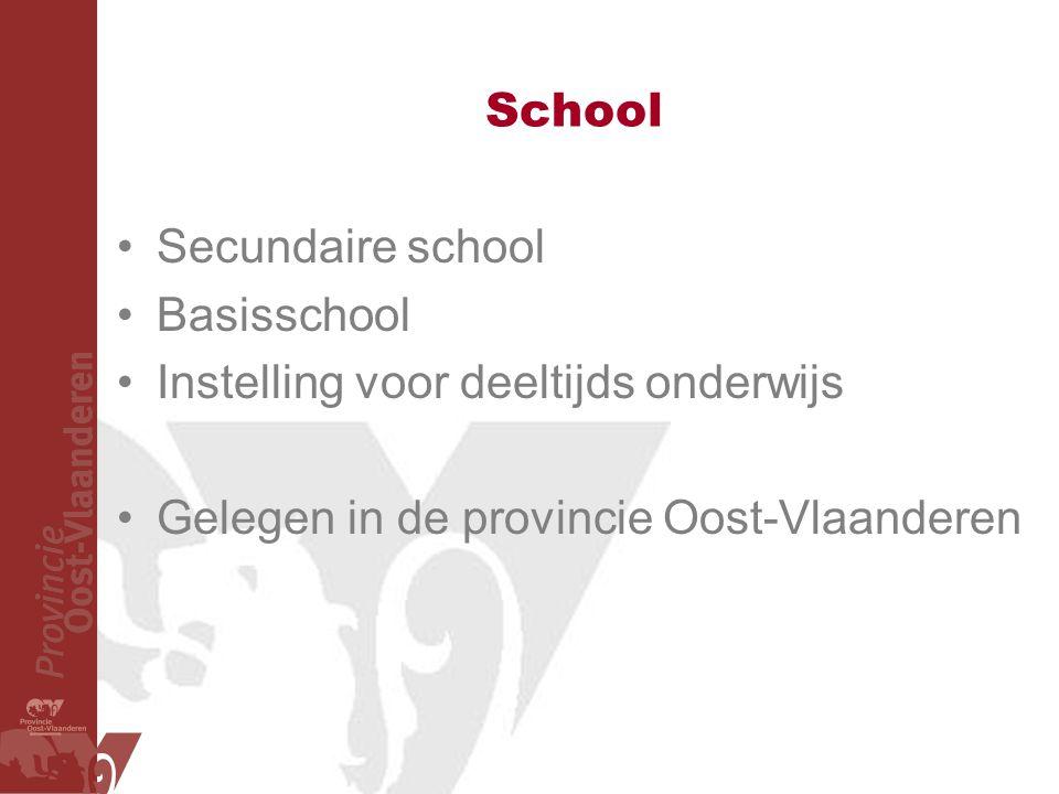 School Secundaire school Basisschool Instelling voor deeltijds onderwijs Gelegen in de provincie Oost-Vlaanderen