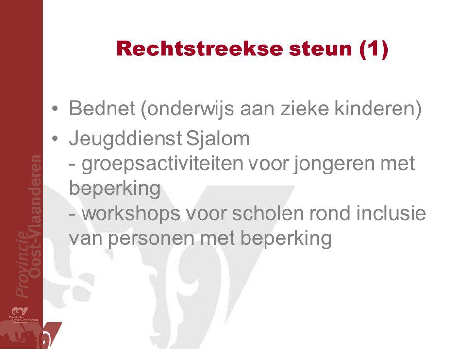 Rechtstreekse steun (1) Bednet (onderwijs aan zieke kinderen) Jeugddienst Sjalom - groepsactiviteiten voor jongeren met beperking - workshops voor scholen rond inclusie van personen met beperking