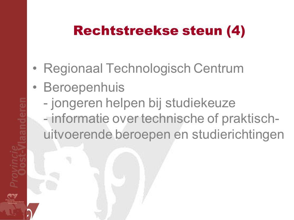 Rechtstreekse steun (4) Regionaal Technologisch Centrum Beroepenhuis - jongeren helpen bij studiekeuze - informatie over technische of praktisch- uitvoerende beroepen en studierichtingen