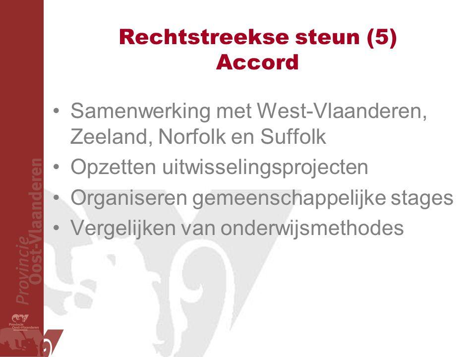 Rechtstreekse steun (5) Accord Samenwerking met West-Vlaanderen, Zeeland, Norfolk en Suffolk Opzetten uitwisselingsprojecten Organiseren gemeenschappelijke stages Vergelijken van onderwijsmethodes