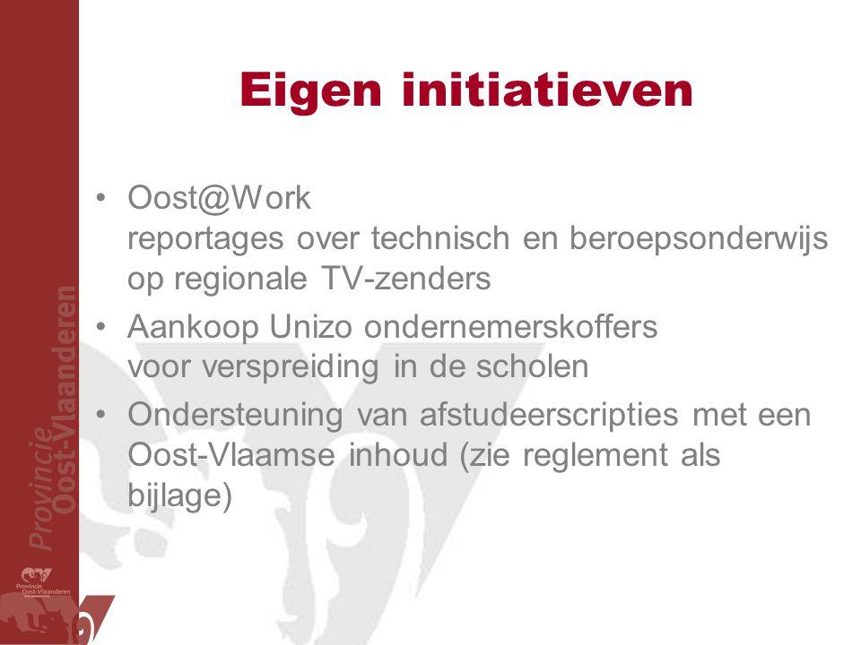 Eigen initiatieven Oost@Work reportages over technisch en beroepsonderwijs op regionale TV-zenders Aankoop Unizo ondernemerskoffers voor verspreiding in de scholen Ondersteuning van afstudeerscripties met een Oost-Vlaamse inhoud (zie reglement als bijlage)