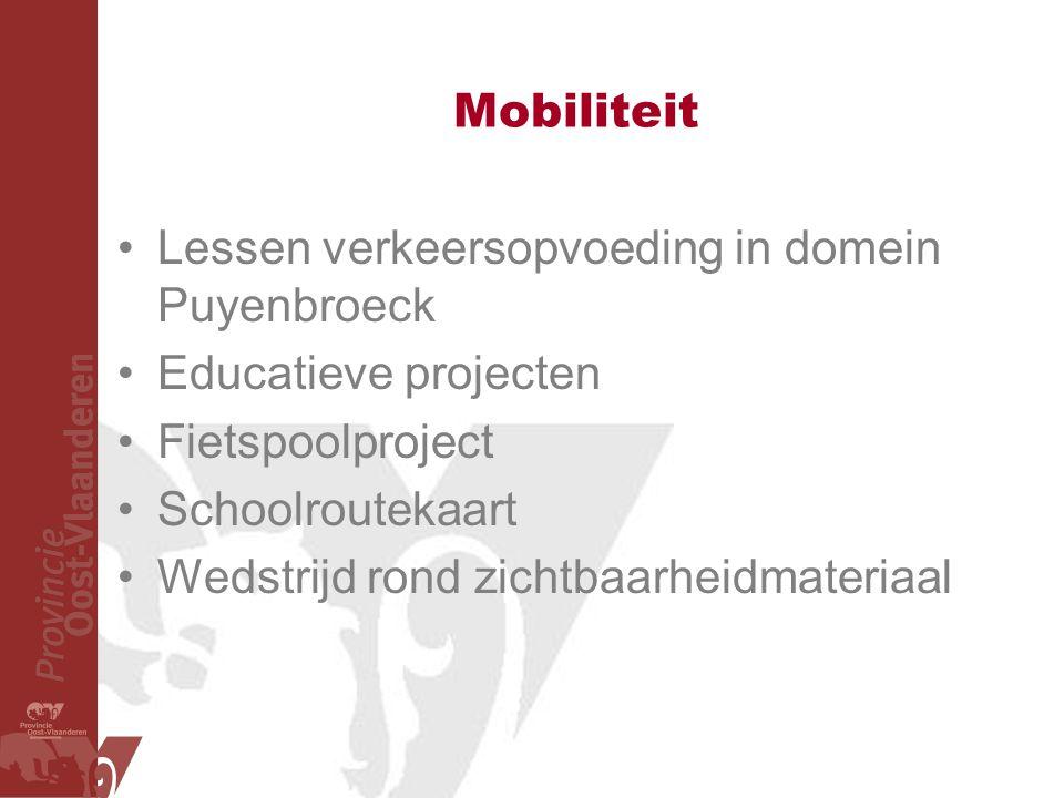 Mobiliteit Lessen verkeersopvoeding in domein Puyenbroeck Educatieve projecten Fietspoolproject Schoolroutekaart Wedstrijd rond zichtbaarheidmateriaal