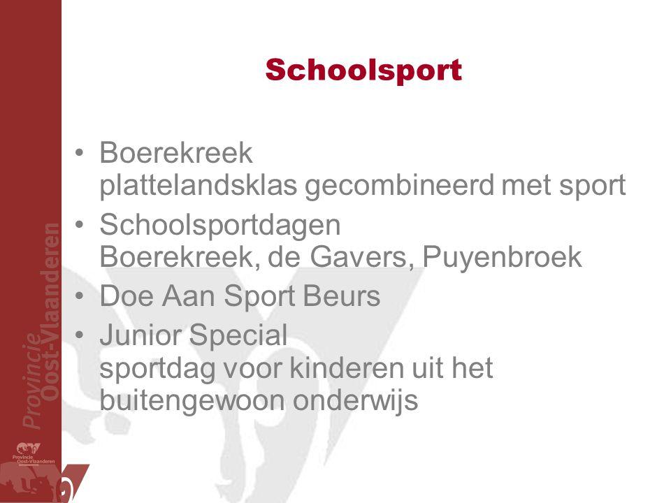 Schoolsport Boerekreek plattelandsklas gecombineerd met sport Schoolsportdagen Boerekreek, de Gavers, Puyenbroek Doe Aan Sport Beurs Junior Special sportdag voor kinderen uit het buitengewoon onderwijs