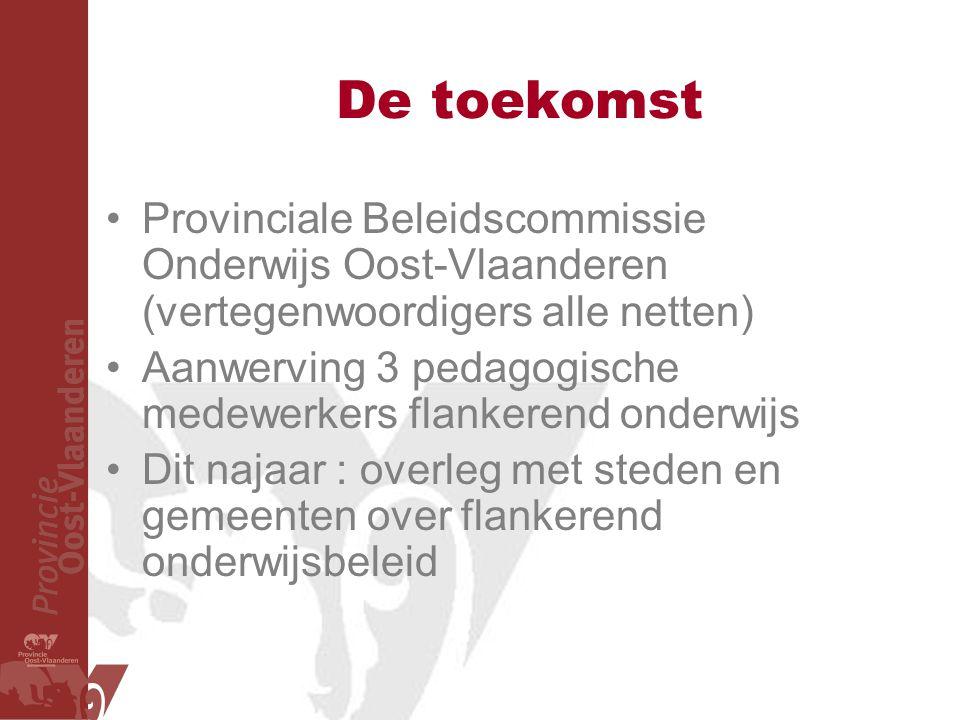 De toekomst Provinciale Beleidscommissie Onderwijs Oost-Vlaanderen (vertegenwoordigers alle netten) Aanwerving 3 pedagogische medewerkers flankerend onderwijs Dit najaar : overleg met steden en gemeenten over flankerend onderwijsbeleid