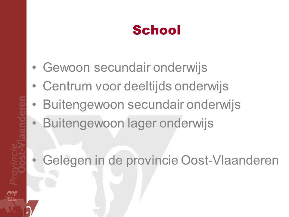 School Gewoon secundair onderwijs Centrum voor deeltijds onderwijs Buitengewoon secundair onderwijs Buitengewoon lager onderwijs Gelegen in de provincie Oost-Vlaanderen