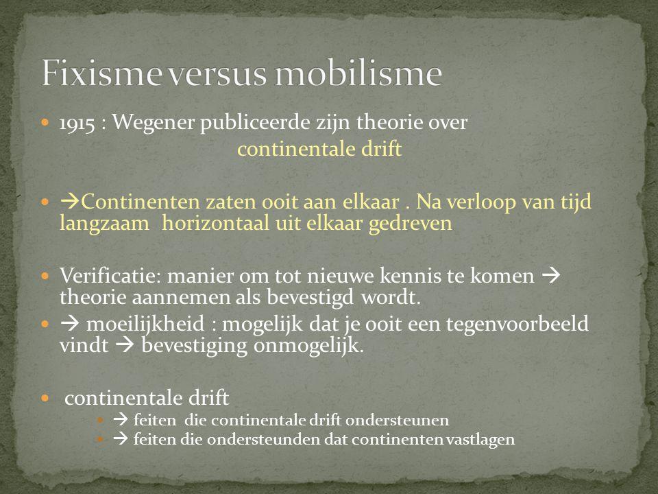 1915 : Wegener publiceerde zijn theorie over continentale drift  Continenten zaten ooit aan elkaar. Na verloop van tijd langzaam horizontaal uit elka