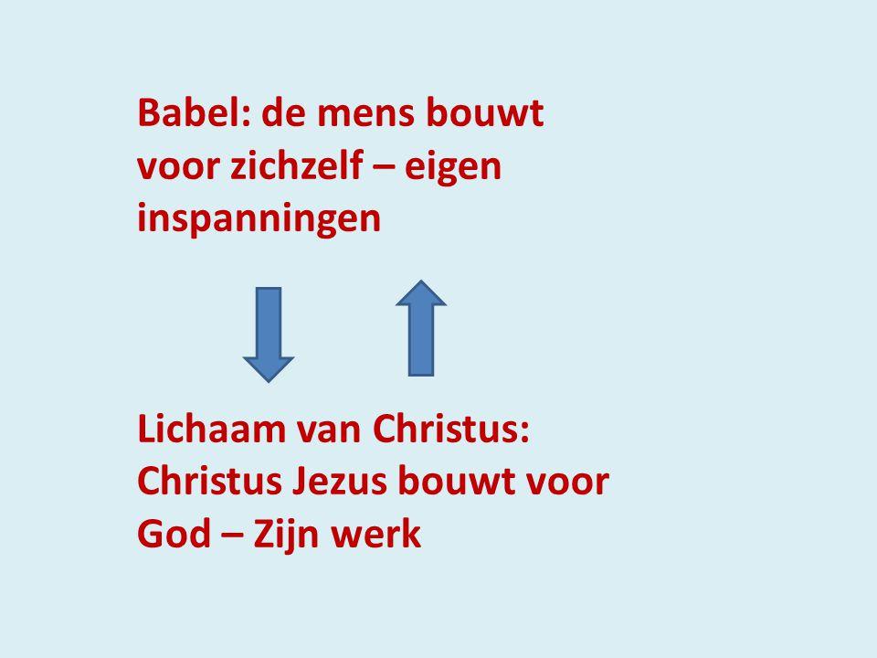 Babel: de mens bouwt voor zichzelf – eigen inspanningen Lichaam van Christus: Christus Jezus bouwt voor God – Zijn werk