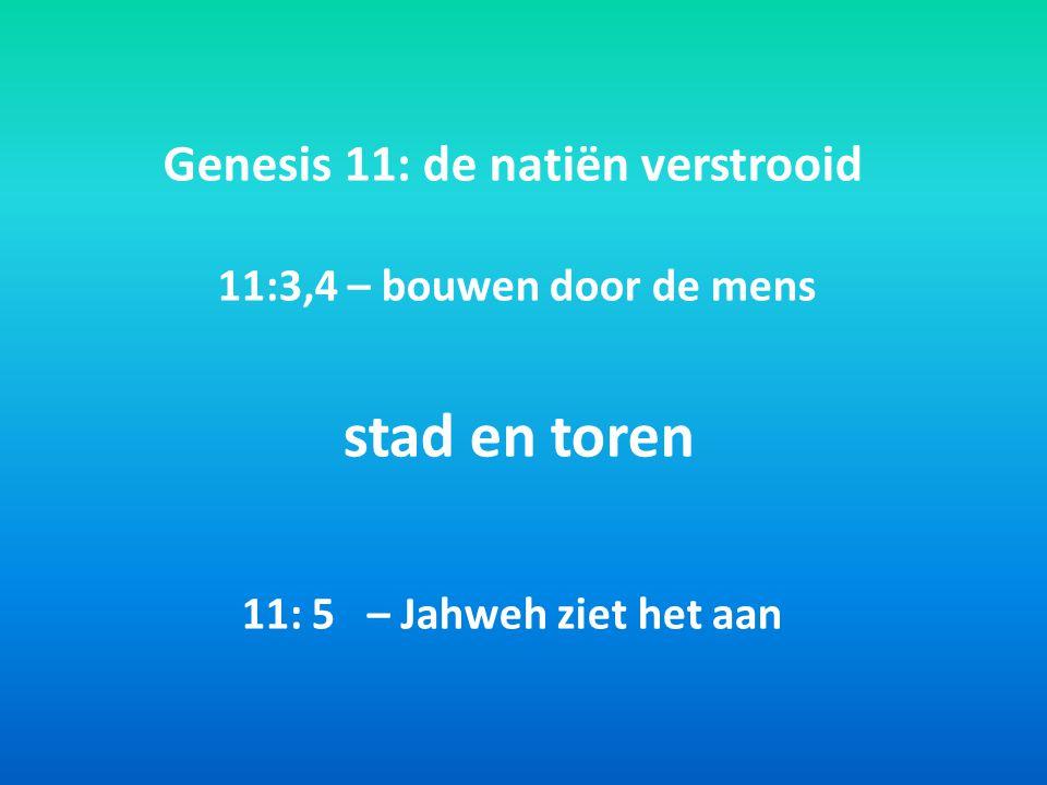 Genesis 11: de natiën verstrooid 11:3,4 – bouwen door de mens stad en toren 11: 5 – Jahweh ziet het aan