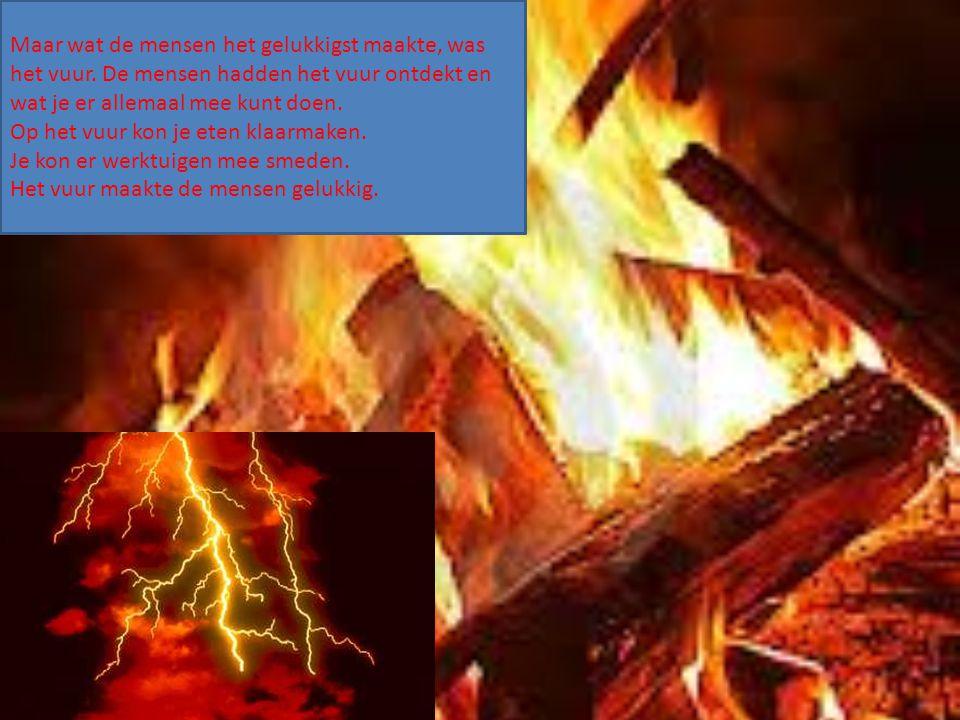 Maar wat de mensen het gelukkigst maakte, was het vuur. De mensen hadden het vuur ontdekt en wat je er allemaal mee kunt doen. Op het vuur kon je eten