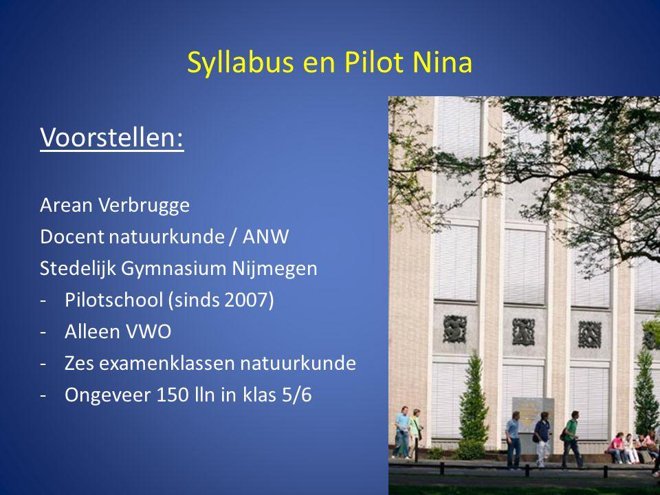 Syllabus en Pilot Nina Ervaringen uit de pilot: -Ook Nieuwe Natuurkunde is gewoon natuurkunde.