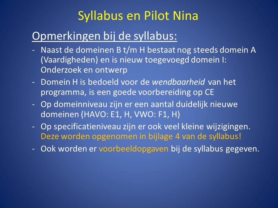 Syllabus en Pilot Nina Waarschuwingen vanuit de pilot: -Pas op voor specificaties/domeinen die hetzelfde lijken; niet alles wat vroeger moest, moet nog steeds.