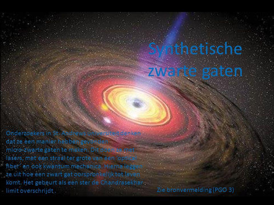 Zie bronvermelding (PGO 4) Het nabootsen van een zwart gat Erg veel materie in een klein volume persen.
