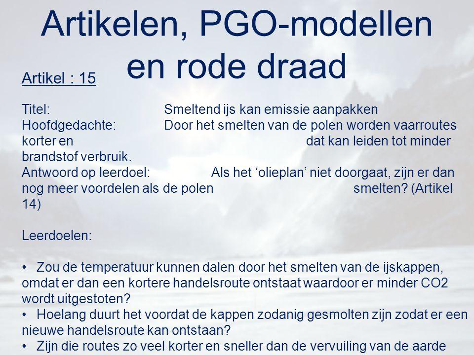 Artikelen, PGO-modellen en rode draad Artikel : 15 Titel:Smeltend ijs kan emissie aanpakken Hoofdgedachte:Door het smelten van de polen worden vaarrou