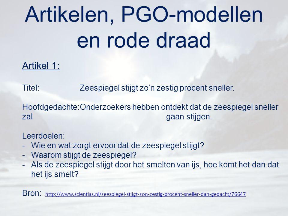 Artikelen, PGO-modellen en rode draad Artikel 1: Titel:Zeespiegel stijgt zo'n zestig procent sneller. Hoofdgedachte:Onderzoekers hebben ontdekt dat de