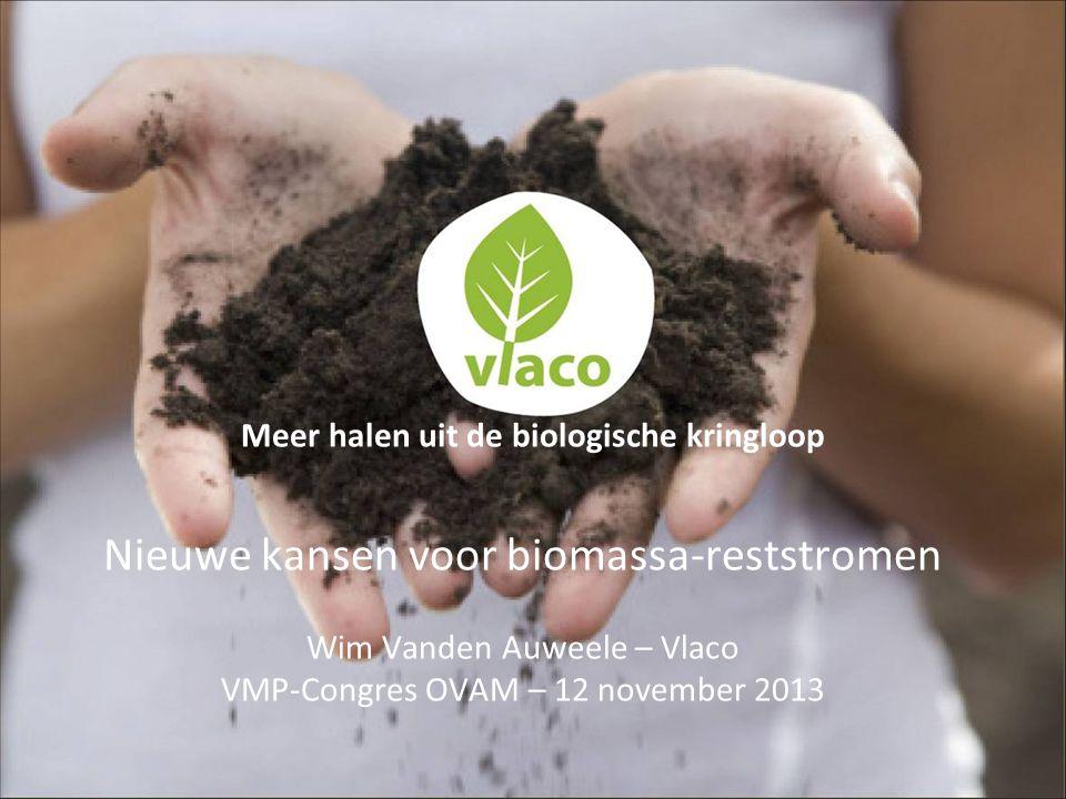 Nieuwe kansen voor biomassa-reststromen Wim Vanden Auweele – Vlaco VMP-Congres OVAM – 12 november 2013 Meer halen uit de biologische kringloop