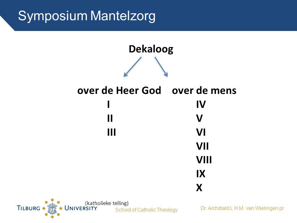Symposium Mantelzorg School of Catholic Theology Dr. Archibald L.H.M. van Wieringen pr. Dekaloog over de Heer God over de mens IIV IIIVI VII VIII IX X