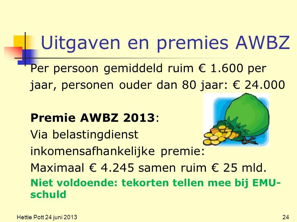 Uitgaven en premies AWBZ Per persoon gemiddeld ruim € 1.600 per jaar, personen ouder dan 80 jaar: € 24.000 Premie AWBZ 2013: Via belastingdienst inkomensafhankelijke premie: Maximaal € 4.245 samen ruim € 25 mld.