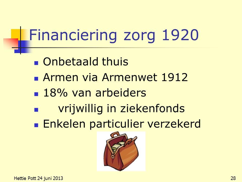 Financiering zorg 1920 Onbetaald thuis Armen via Armenwet 1912 18% van arbeiders vrijwillig in ziekenfonds Enkelen particulier verzekerd Hettie Pott 24 juni 201328