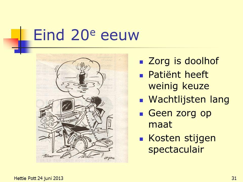 Eind 20 e eeuw Zorg is doolhof Patiënt heeft weinig keuze Wachtlijsten lang Geen zorg op maat Kosten stijgen spectaculair Hettie Pott 24 juni 201331