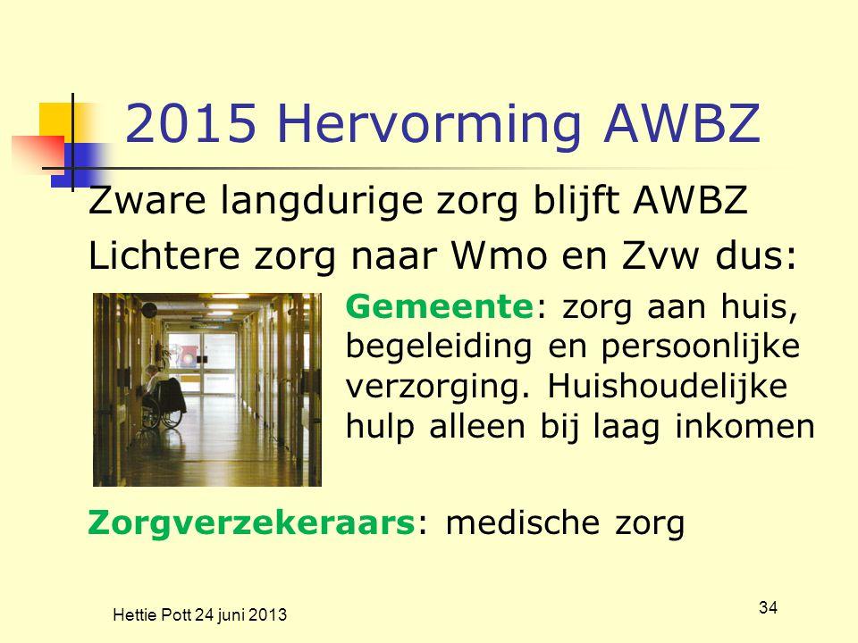 2015 Hervorming AWBZ Zware langdurige zorg blijft AWBZ Lichtere zorg naar Wmo en Zvw dus: Gemeente: zorg aan huis, begeleiding en persoonlijke verzorg