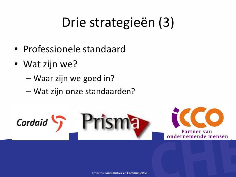 Drie strategieën (3) Professionele standaard Wat zijn we? – Waar zijn we goed in? – Wat zijn onze standaarden?