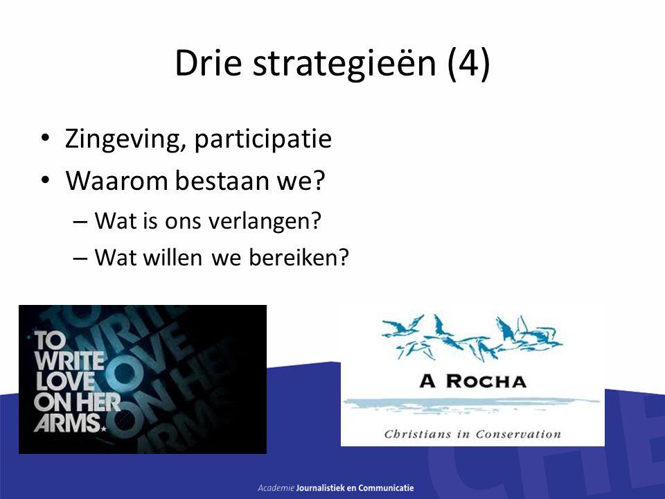 Drie strategieën (4) Zingeving, participatie Waarom bestaan we? – Wat is ons verlangen? – Wat willen we bereiken?