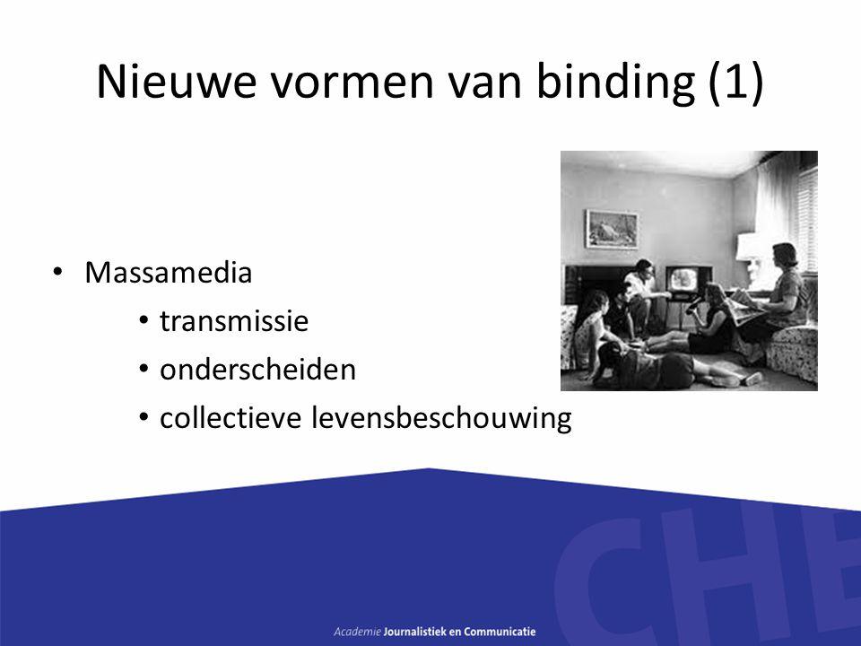 Nieuwe vormen van binding (1) Massamedia transmissie onderscheiden collectieve levensbeschouwing