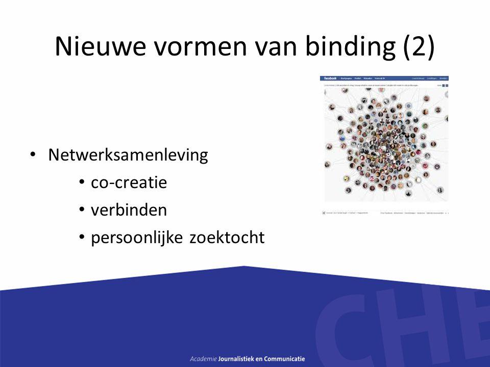 Nieuwe vormen van binding (2) Netwerksamenleving co-creatie verbinden persoonlijke zoektocht