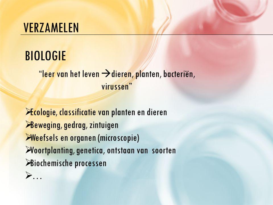 """VERZAMELEN BIOLOGIE """"leer van het leven  dieren, planten, bacteriën, virussen""""  Ecologie, classificatie van planten en dieren  Beweging, gedrag, zi"""
