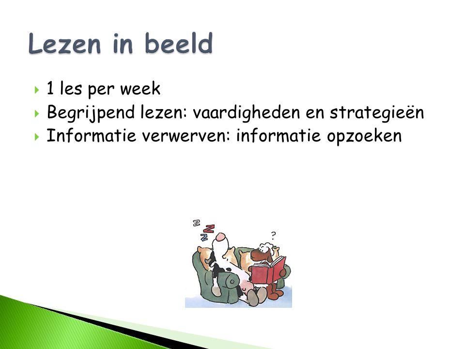  1 les per week  Begrijpend lezen: vaardigheden en strategieën  Informatie verwerven: informatie opzoeken