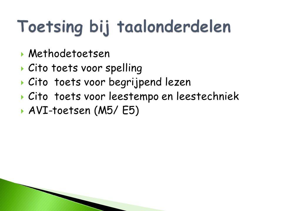  Methodetoetsen  Cito toets voor spelling  Cito toets voor begrijpend lezen  Cito toets voor leestempo en leestechniek  AVI-toetsen (M5/ E5)