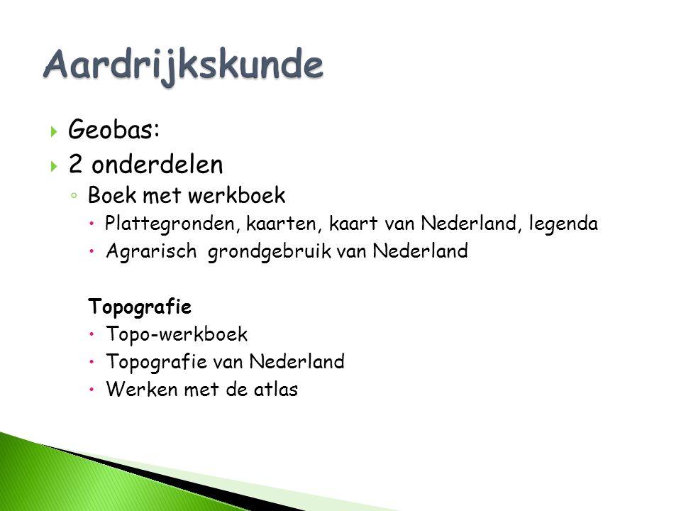  Geobas:  2 onderdelen ◦ Boek met werkboek  Plattegronden, kaarten, kaart van Nederland, legenda  Agrarisch grondgebruik van Nederland Topografie