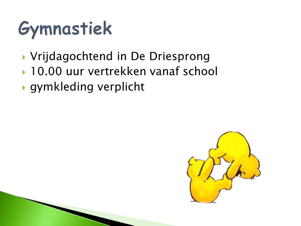  Vrijdagochtend in De Driesprong  10.00 uur vertrekken vanaf school  gymkleding verplicht