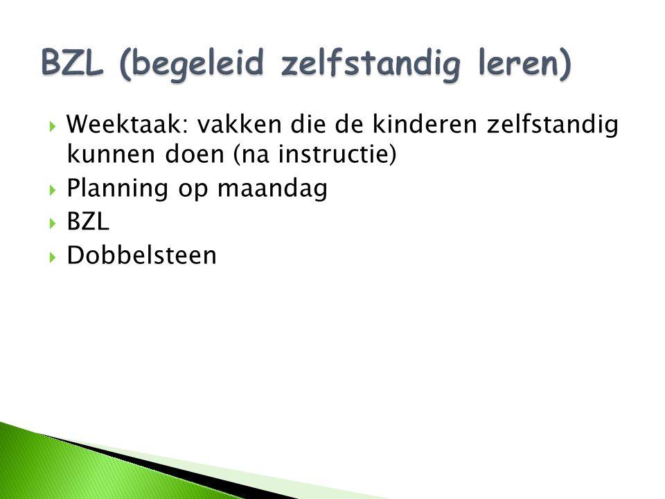  Weektaak: vakken die de kinderen zelfstandig kunnen doen (na instructie)  Planning op maandag  BZL  Dobbelsteen
