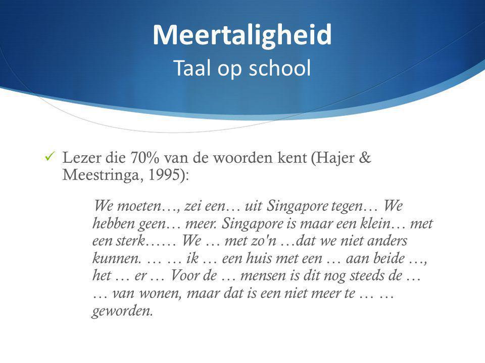 Lezer die 70% van de woorden kent (Hajer & Meestringa, 1995): We moeten…, zei een… uit Singapore tegen… We hebben geen… meer.